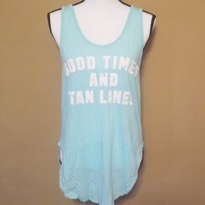 Good times and time lines vs blue tank top (s)